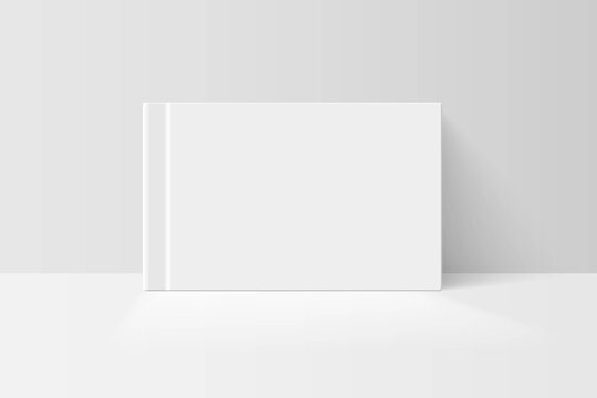 Booklet or notebook mock up. Blank white cover of book vector illustration. Softcover of white catalog, album or journal design presentation