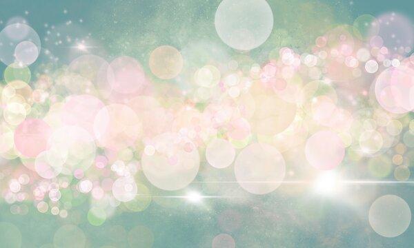 Sfondo magico verde rosa azzurro madreperla con bokeh