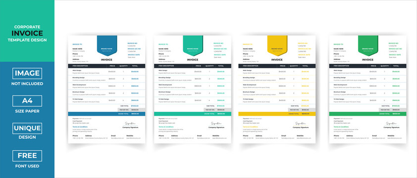 Minimal Creative Corporate Business invoice Template. Invoice For your Business Print ready Invoice Vector template Design