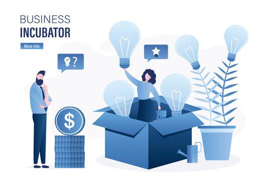 Woman in opened cardboard box. Businessman investor thinks, brainstorming. Successful businesswoman holds idea lightbulb. Business incubator