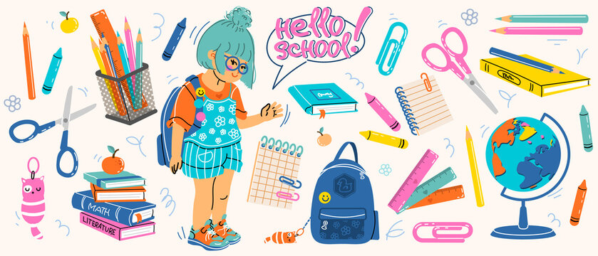 Big set of school supplies. Hello school lettering. Little cute girl is going to study. Children's subjects for study. Vector illustration in a flat style on a white background. All objects are isolat