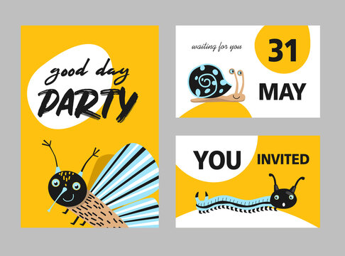Creative party invitation designs with cute insects. Modern yellow invitations with moth, centipede and snail. Celebration and fauna concept. Template for leaflet, banner or flyer