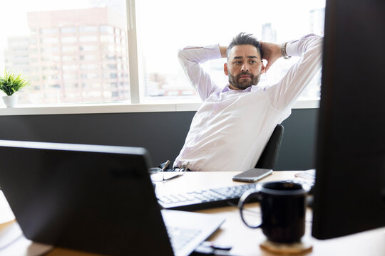 Businessman working in highrise office