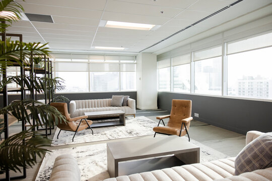Empty modern highrise office sitting area