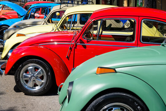 Vintage beetle automobiles lined up side by side