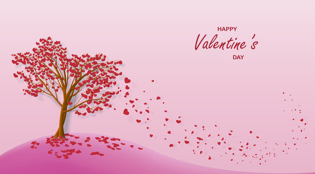 Landscape two trees with leaves in the form of hearts falling from the wind for a card or banner for Valentine's Day