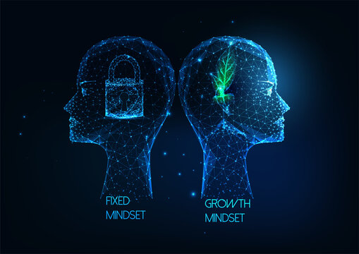 Futuristic Growth mindset VS Fixed mindset concept with low poly human heads with plant and lock