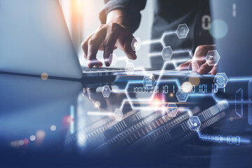 Fototapeta Financial technology, digital banking, online payment concept obraz