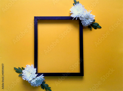Floral composition on yellow background. Frame of flowers. Minimalism, top view, flat lay. Birthday, Mother's day, Women's day, March 8, celebration.