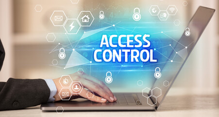 ACCESS CONTROL inscription on laptop, internet security and data protection concept, blockchain and cybersecurity - fototapety na wymiar