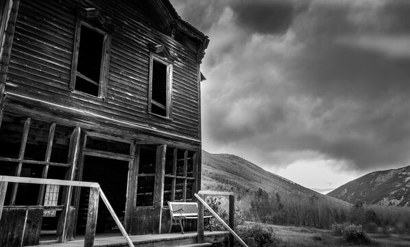 An abandoned building in the Colorado Ghost Town of Ashcroft, near Aspen and Snowmass, Colorado in the Rocky Mountains.