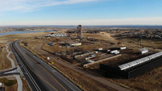 Headframe of the former Leyden Coal Mine and experiential solar array, looking toward Denver