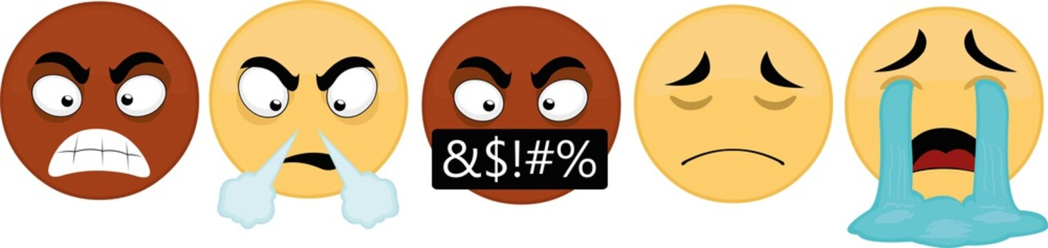 Vector illustration of emoticons with sad and angry expressions