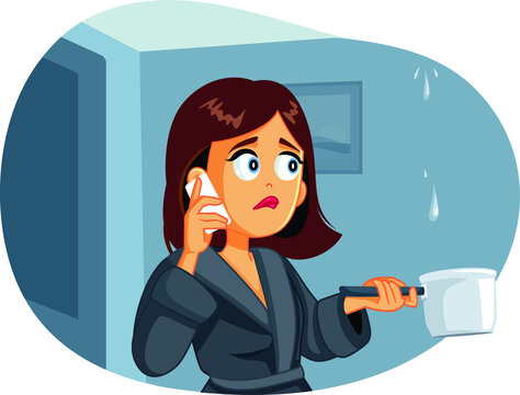 Woman Calling the Plumber while the Ceiling is Leaking