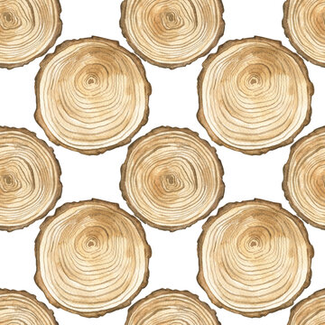 Seamless pattern with slice of wood. Watercolor illustration. The print is used for Wallpaper design, fabric, textile, packaging.