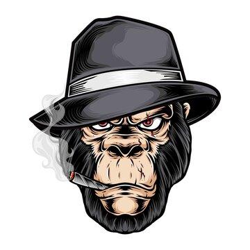 gorilla gangster head vector logo