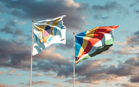 Flags of United States Virgin Islands and Seychelles.