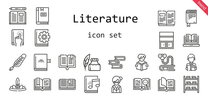 literature icon set. line icon style. literature related icons such as bookworm, audiobook, open book, bookshelf, feathers, book, ink pen, reading, librarian, quill,