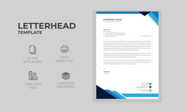 Professional Elegant Corporate Company Modern Letterhead Stationery Print Ready A4 Size Simple business letterhead design Free Vector