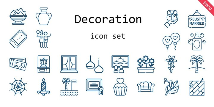 decoration icon set. line icon style. decoration related icons such as gift, canvas, flowers, sofa, balloon, just married, ticket, birch, certificate, vase