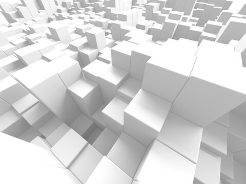 White cubes structure. Abstract futuristic background.