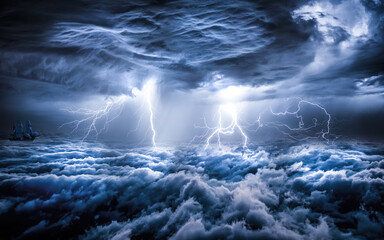 storm over the sea