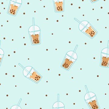 Bubble milk tea. A sweet cold drink with tapioca pearl balls. Asian street food from Taiwan. Seamless background with pattern.