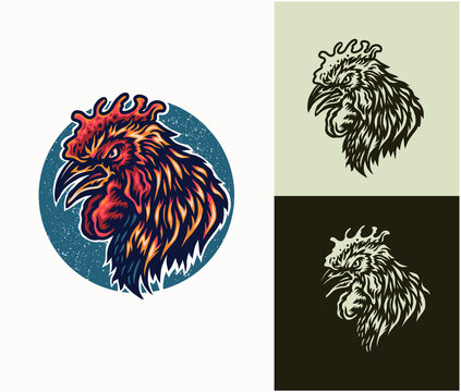 Angry rooster head, hand drawn line style with digital color, vector illustration