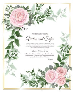 Invitation card template. Pink roses, eucalyptus, green plants and flowers, beautiful openwork leaves.