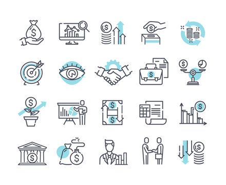 Financial management outline icons, trade service and investment strategy. Collection of thin line pictograms and infographics. Set of black and white vector illustrations isolated on white background