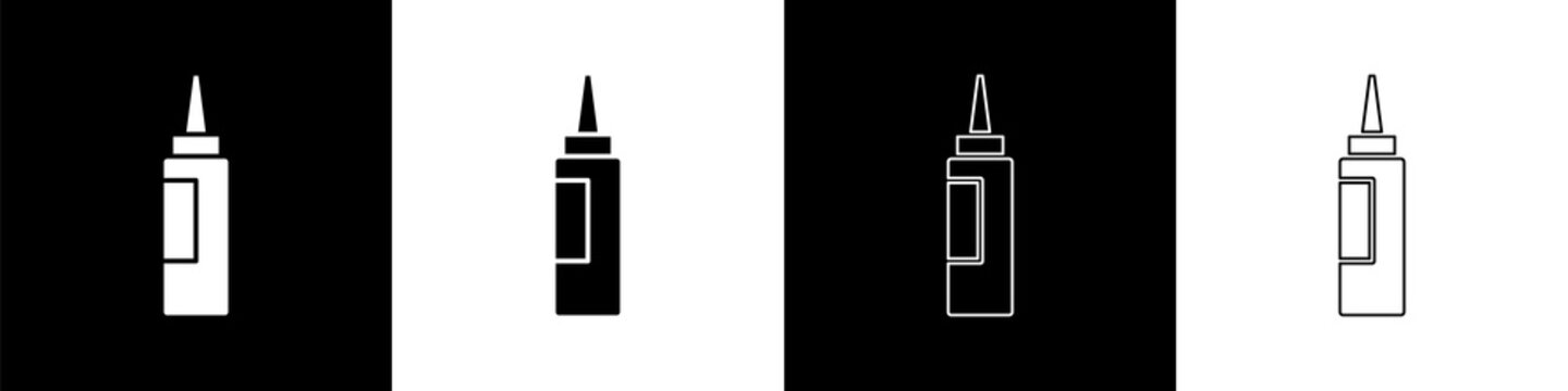 Set Cream or lotion cosmetic tube icon isolated on black and white background. Body care products for woman. Vector.