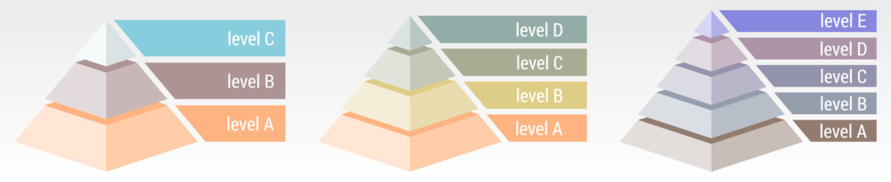 Simple 3d pyramid made of three, four or five thick layers, space for text right, infographics element