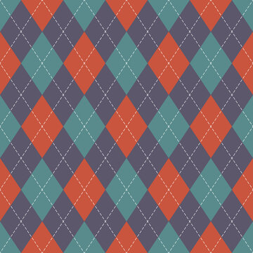 Argyle pattern geometric design in orange, purple, green. Traditional vector argyll background for gift wrapping, socks, sweater, jumper, or other modern autumn winter textile.