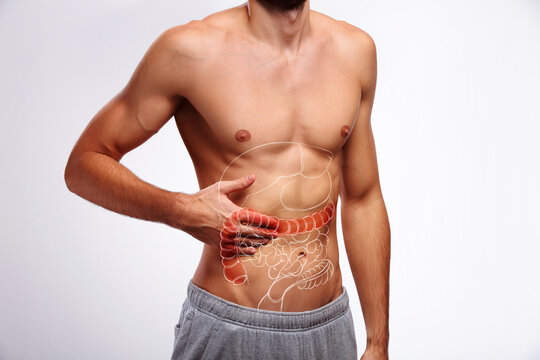 Large intestine inflammation, ache and pain cramp, Man's problem with irritable colon