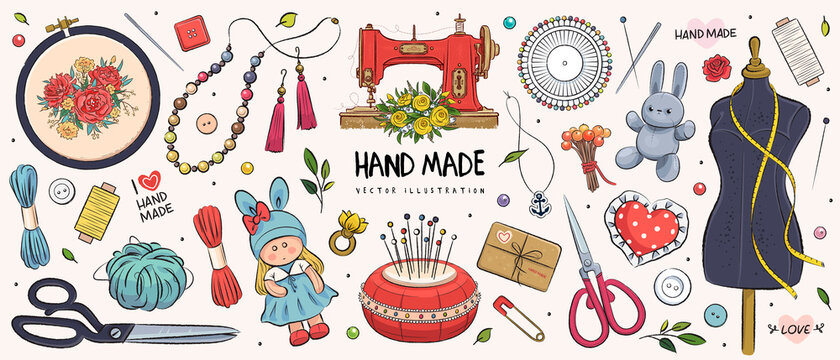 Hand drawn sketch handmade set. Vector illustration