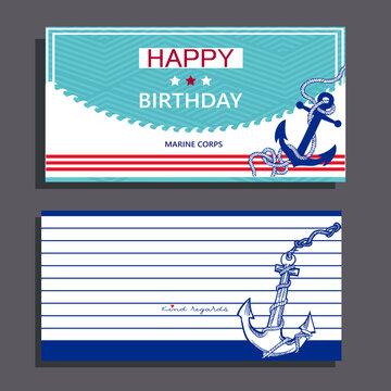 Postcard army marine motive Happy birthday  with anchor, Basic CMYK
