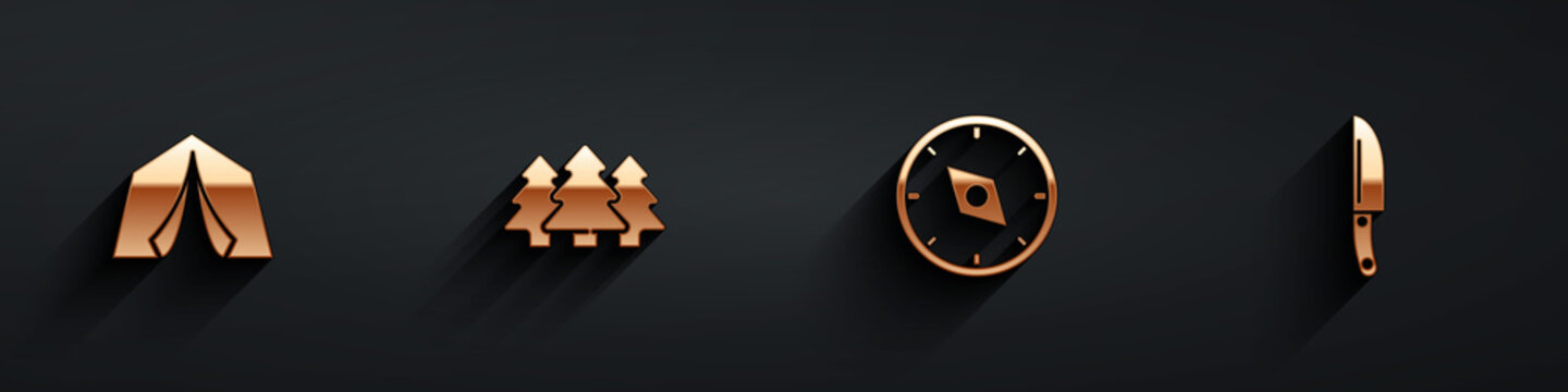 Set Tourist tent, Forest, Compass and Knife icon with long shadow. Vector.