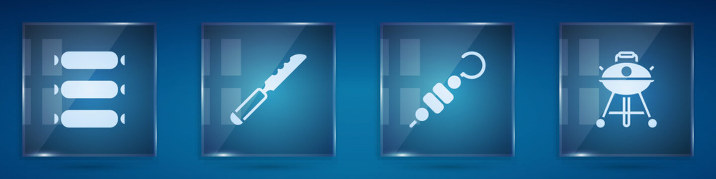 Set Sausage, Bread knife, Grilled shish kebab and Barbecue grill. Square glass panels. Vector.
