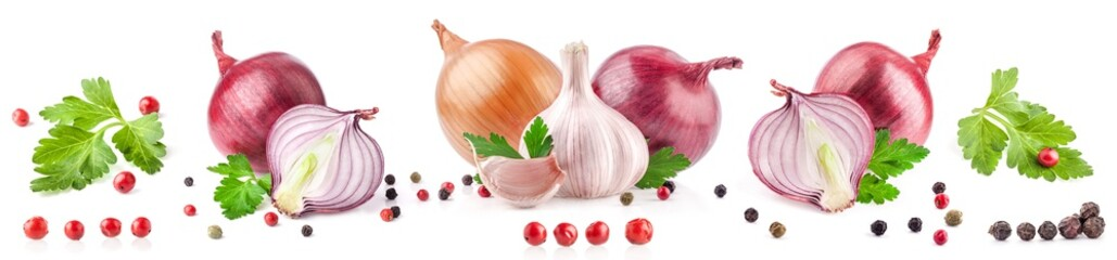Collection of garlic and onion with peppercorn and parsley isolated on white background