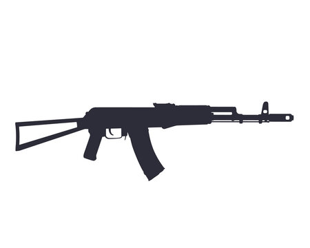 assault rifle, russian automatic gun silhouette isolated on white