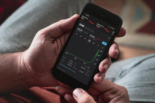 Antalya, TURKEY - January 30, 2021. GameStop Corp stock index is seen on an iPhone.