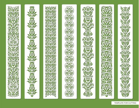 Set of decorative seamless borders with floral patterns. Repeating pattern of leaves, flowers, dots. Luxurious vintage style. Natural theme. Vector template for plotter laser cutting (cnc) of paper.