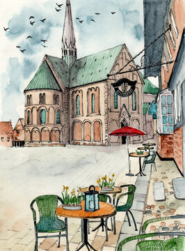 Watercolor illustration of a view on the Ribe Cathedral in an ancient city of Ribe in Denmark and a square with a cafe in front of it