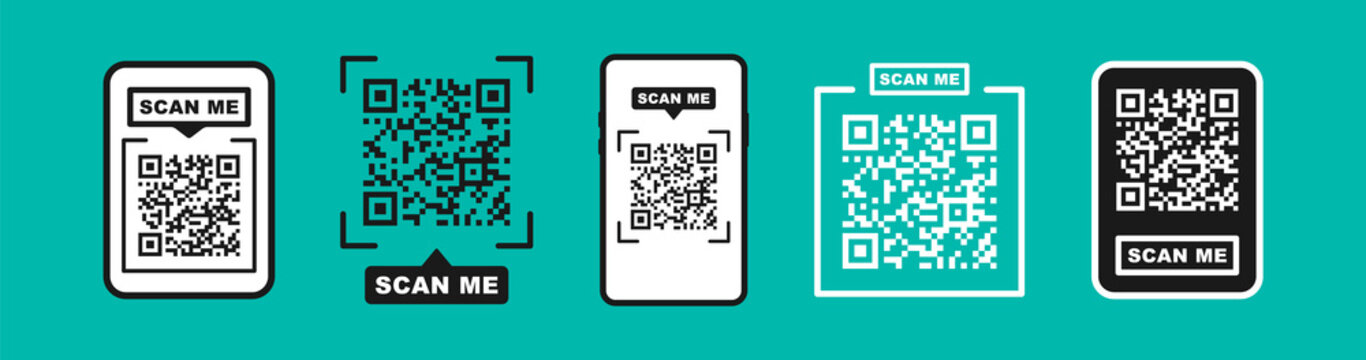 QR code scan for smartphone. Qr code frame vector set. Template scan me Qr code for smartphone. QR code for mobile app, payment and phone. Scan me phone tag. Vector illustration.