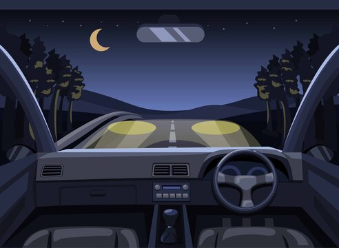 Dashboard car driving in forest at night. point of view driver scene concept in cartoon illustration vector