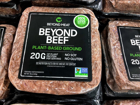 Tel Aviv, Israel - 5 October, 2020: Beyond Meat brand plant-based Beyond Beef packages in the meat section of grocery store.