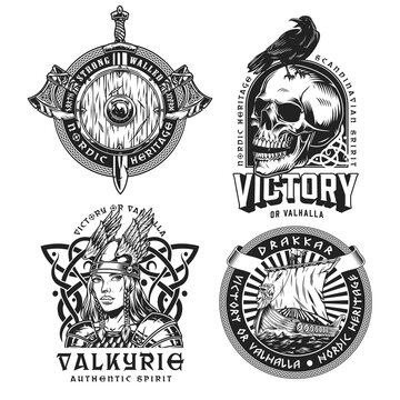 Viking vintage labels set
