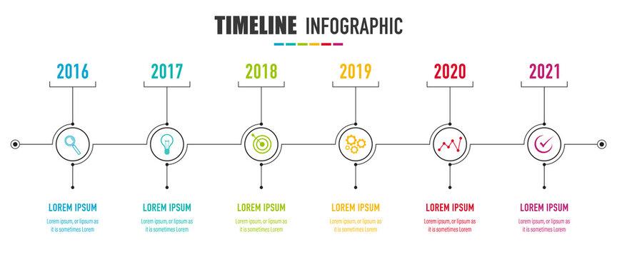 Project Timeline Infographics, 6 years recap, timeframe, milestones and achievements