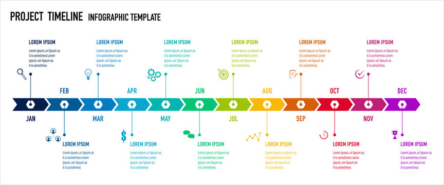 Project Timeline & Milestones Infographics, 12 months plan