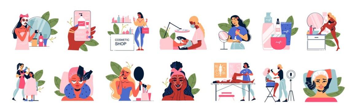 Female Cosmetology Icon Set